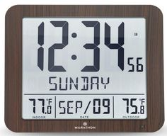 Marathon Slim Atomic Wall Clock with Indoor/Outdoor Temperature, Full Calendar and Large Display - Batteries Included - CL030027-FD-WD (Wood Grain Finish) Atomic Wall Clock, Best Wall Clocks, Wood Grain, Marathon, Indoor Outdoor, Calendar, Slim, Display, Floor Space