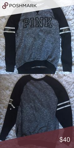 VS Pink Crew Not sure if it's a varsity crew but looks like it. Used condition. Minor fading and some signs of wear in the fabrics texture. Still in good condition. Has pockets. PINK Victoria's Secret Sweaters Crew & Scoop Necks