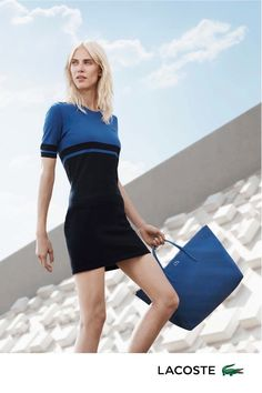 Aymeline models polo dress and tote bag from Lacoste spring 2016 collection