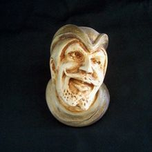 Chalkware Match Holder Man's Face Circa late 1800s from River Queen on Ruby Lane