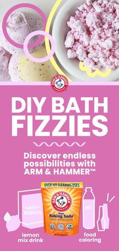 Did you know you can make bath fizzies with ARM & HAMMER™ Baking Soda? Just mix cup baking soda, 4 tsp flour, and 8 tsp unsweetened lemon drink mix. Separately, mix cup mineral oil and drops of food coloring. Slowly combine the two mixtures an Homemade Beauty, Homemade Gifts, Diy Beauty, Diy Gifts, Beauty 101, Homemade Things, Diy Projects For Kids, Crafts For Kids, Craft Projects