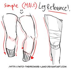 simple ( male ) legs reference by into-ThePromise-land on DeviantArt Leg Reference, Body Reference Drawing, Anatomy Reference, Art Reference Poses, Drawing Legs, Guy Drawing, Drawing Poses, Drawing Stuff, Man Anatomy