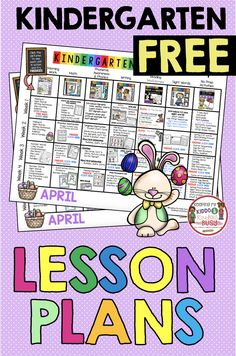 FREEBIE for kindergarten lesson plans spring April