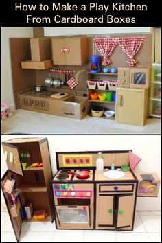 DIY Cardboard Play Kitchen – Craft projects for every fan! Cardboard Kitchen, Diy Cardboard Furniture, Cardboard Box Crafts, Diy Kids Furniture, Cardboard Playhouse, Cardboard Crafts, Cardboard Box Ideas For Kids, Kitchen Sets For Kids, Diy Kids Kitchen