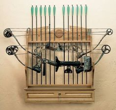 Compound Bow and arrow rack for a country home or cabin