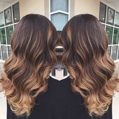 Caramel Balayage Ombre on Brunette Hair