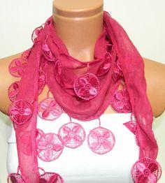 Personalized Design pink fuchsia Scarf Turkish by WomanStyleStore, $16.00