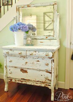Chippy milk paint dresser in Linen
