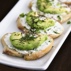 Crostini with Herb Cream Cheese and Avocado
