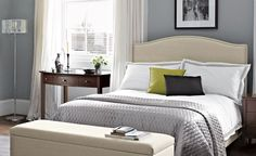 Boutique hotel bedroom - grey blue and green Grey Bedroom Design, Small Bedroom Designs, Boutique Hotel Bedroom, Condo Furniture, Beautiful Bedrooms, Nice Bedrooms, Master Bedrooms, Master Suite, Home Bedroom