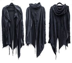 One of a kind handcrafted long black asymmetric hoodie. 60 Fashion, Dark Fashion, Fashion Outfits, Apocalyptic Clothing, Burning Man Outfits, Cyberpunk Fashion, Rock Outfits, Handmade Clothes, Black Hoodie