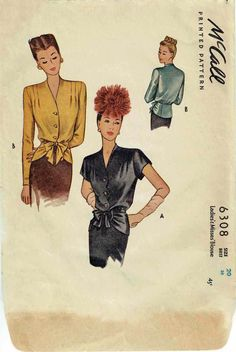 McCall 6308 Ladies and Misses blouse 1945  1940s