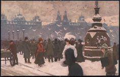 Paul Fischer - Dronning Louises Bro - Nielsen & Lydiche u/n Snow Art, Beach Scenes, Vintage Artwork, Conceptual Art, Painters, Danish, Denmark, Bro, 19th Century