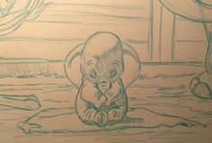 """2015 Dumbo Drawing 1 of 3: """"Delivery"""" (Pencil sketch close-up) Close-up of completed blue-line pencil sketch of the first large (18x24 in) Dumbo drawing, featuring little baby Dumbo. #arielsartwork #dumbo #baby #delivery #disney #cartoon #animation #sketch #pencil #blueline #nonphotoblue #art"""