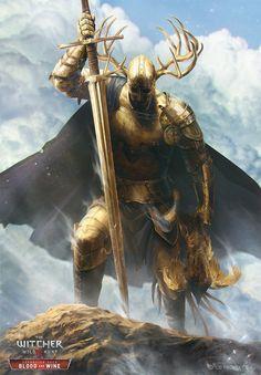 Knight (Golden Paladin) by Anna Podedworna Fantasy Warrior, Dnd Characters, Fantasy Characters, Medieval Fantasy, Dark Fantasy, Final Fantasy, Fantasy Inspiration, Character Inspiration, Fantasy Character Design