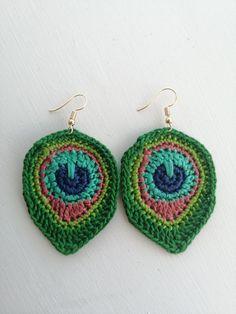 Custom order for a dear friend Peacock Earrings, Brighten Your Day, Dear Friend, Sun Hats, Tortoise, Statement Earrings, Crochet Earrings, Take That, Vibrant