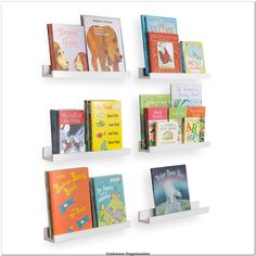 Wallniture Denver Wall Mount Kids Bookshelf, Floating Wall Shelf for Book Display and Photo Ledge 17 Inches, White, Set of 6-- You can get additional details at the image link.(It is Amazon affiliate link) #cookwareorganization