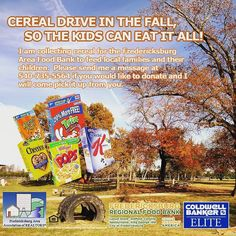 It's that time of year! I am collecting cereal with other local Realtors in FAAR for the Fredericksburg Area Food Bank.  This is a large need for the food bank and even just one box means a lot. Thanks for your support!! Message me if you would like to donate money or cereal and I will pick it up from you. . . . . #charity #kids #foodbank #cereal #fooddrive #fxbg #fxbgva #lovefxbg #livefxbg #Fredericksburg #FredericksburgVa  #realestate #movetofred #movetofxbg #localexpert #buying #selling…