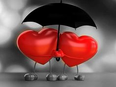 two red hearts, splash colors