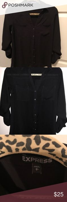 Black Button Down Blouse Express Black Button Down Blouse Express Tops Blouses
