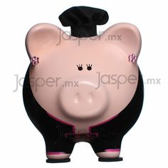 Alcancía cerdito de cerámica - Chef Wooden Piggy Bank, Pig Bank, Cute Piggies, Ale, Gifts, Gift Ideas, Pigs, Projects, Crafts