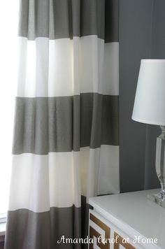 Horizontal stripe drapery panels - West Elm.........A horizontal stripe shower curtain!