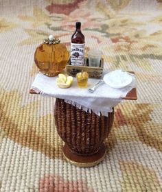 Table Dressed with Liquor Drape Bottle 1:12 Dollhouse Miniature