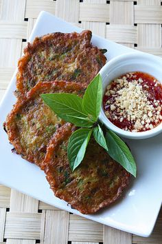 Zucchini Cakes with Thai Sweet Chili Sauce