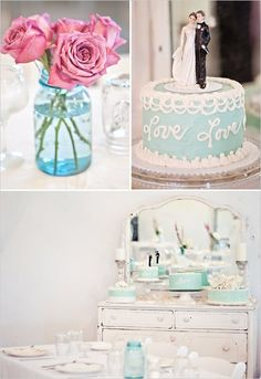 Tiffany Colors and Pink Roses for the Shabby Chic Bride and her Groom