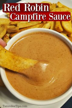 How to make Red Robin Campfire Sauce at home! This easy recipe is perfect for fries, onion rings or anything you want to dip into it. Enjoy your favorite restaurant recipe at home. Copykat Recipes, Sauce Recipes, Dip Recipes, Dinner Recipes, Cooking Recipes, Chicken Recipes, Recipies, Red Robin Fries, Red Robin Steak Fries Recipe