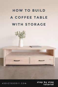 Learn how to build this beautiful coffee table with storage in this step by step tutorial. This coffee table has plenty of storage for all your needs. Build A Coffee Table, Pallet Dining Table, Coffee Table Base, Coffee Table With Drawers, Diy Table, Pallet Benches, Pallet Couch, Pallet Tables, Pallet Bar