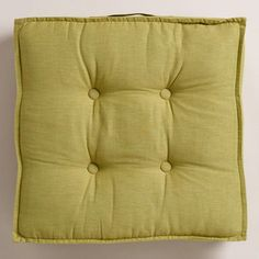 Green Khadi Tufted Floor Cushion comes in blue as well, $40 http://www.worldmarket.com/product/green-khadi-tufted-floor-cushion.do?&from=fn