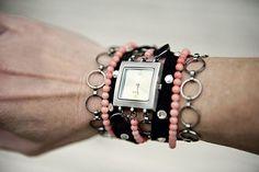 DIY watch band - Chains, beads, and rhinestones