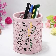 Amazon.com : Hollow Rose Flower Pattern Cylinder Pen Pencil Pot Holder Container Organizer(Multi-Color to Choose From) : Office Products
