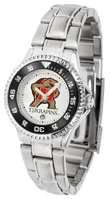 Maryland Terps Ladies Stainless Steel Watch by SunTime. $76.95. Officially Licensed Maryland Terrapins Ladies Stainless Steel Watch. Rotating Bezel. Stainless Steel. Links Make Watch Adjustable. Women. Maryland Terps Ladies Stainless Steel Watch. This Maryland metal wrist watch works for dress or casual apparel. Functional rotating bezel is color-coordinated to compliment your favorite Terrapins team logo. The Competitor Steel utilizes an attractive and secure stainless...