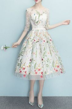 Sizes S-XL Champagne White Floral Embroidery Midi Dress - Gorgeous vintage Style A-line dress with colorful embroidered flowers on sheer fabric & sweetheart neckline. Look beautiful for dinner date holiday party cocktail dress girls night out. Women's work outfit or simple homecoming prom or bridesmaid dress. Lovely & unique ivory wedding dress idea. Bold fashion statement style plus size clothing curvy girl fashion. Affiliate Link. #promdressesforcurvygirlsplussizesimple