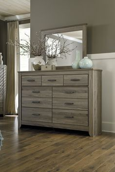 Zelen Collection Rustic Vintage Look Gray Finish Bedroom Dresser With Mirror - Main Image