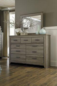 Zelen Collection Rustic Vintage Look Gray Finish Bedroom Dresser With Mirror - Main Image