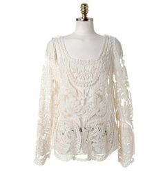 Fashion 2014 Sexy Women's Blouses Shirts Sheer Sleeve Embroidery Floral Lace Crochet Plus Size Tops Blouse Drop Shopping 109H
