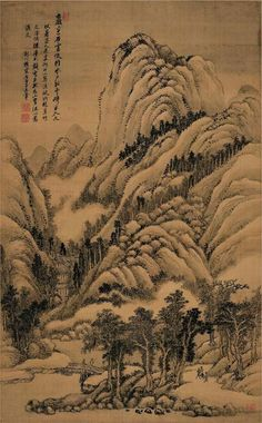 Wang Hui(王翬) ,  仿巨然夏山水笔法图. Wang Hui followed in the footprints of his great grandfathers, grandfather, father and uncles and learned painting at a very early age. He was later taught by two contemporary masters, Zhang Ke and Wang Shimin, who taught him to work in the tradition of copying famous Chinese paintings. This is most likely the reason why critics claim that his work is conservative and reflects the Yuan and Song traditions.
