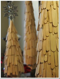 craft stick Christmas trees. In gold OR forest green with gold accents