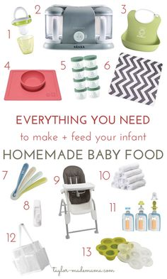 Ready to introduce solid food to your baby? Here is a list of everything you will need to get started making and feeding homemade baby food to your infant.