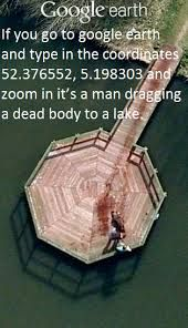 I looked it up and it really does look like someone dragging a bleeding body. I'll post a screen shot next