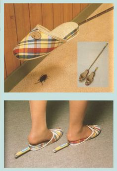 Chindogu - Got a cockroach problem? Use the built in handle in these slippers to help you get 'em!