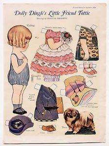 dollie dingle paper dolls | Details about Vintage DOLLY DINGLE'S LITTLE FRIEND TOTTIE paper dolls ...