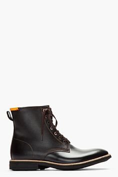 Paul Smith Jeans Black Etched Leather Neon-trimmed Boots for men | SSENSE