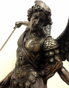 Michael Standing On Demon W Sword & Shield Statue Sculpture Religious Tattoos, Religious Art, Roman Sculpture, Sculpture Art, Guerrero Tattoo, Archangel Michael Tattoo, Gardian Angel, Sculpture Romaine, Angel Statues