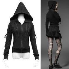 Black Hooded Gothic Punk Fashion Jackets Hoodies Clothing Shop Women SKU-11401499