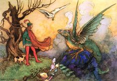 """Dragon from the Grotto  """"Avenant delivered up his phial; the owl flew with it into the grotto, and in less than half-an-hour reappeared, bringing it quite full and well corked"""" by Warwick Goble"""