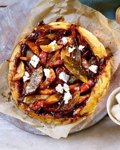 The sweet and savoury combination of apples, shallots, bacon and goat's cheese makes this sticky tarte tatin recipe ever so moreish. Tart Recipes, Apple Recipes, Yummy Recipes, Healthy Recipes, Apples And Cheese, Savory Tart, Delicious Magazine, Goat Cheese, Wine Cheese